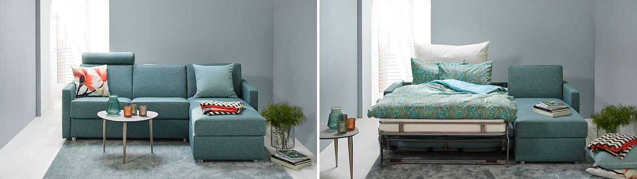 Sovesofaen BEDinside fra Hovden Møbel kan skreddersys etter dine ønsker, og gir gjestene dine et komfortabelt sted å overnatte