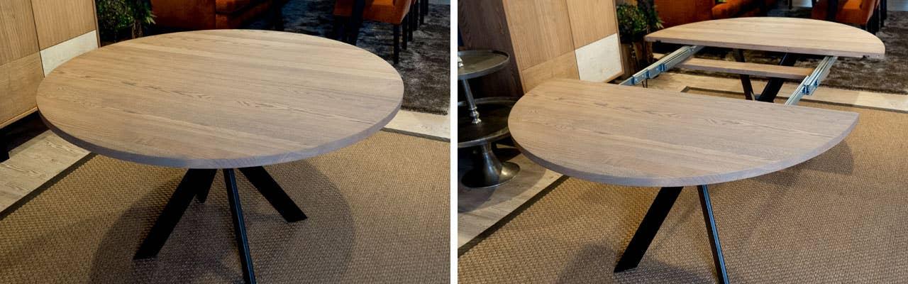 Et rundt spisebord er sosialt og passer inn i en liten stue og spisestue, og du kan velge hvor mange ileggsplater du vil ha etter hvor mange sitteplasser du har behov for når du har gjester.