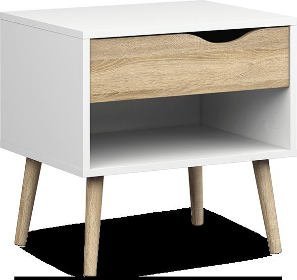 Oslo nattbord med hylle og skuff – og plass til en liten plante og en liten velkomstgave til gjestene.