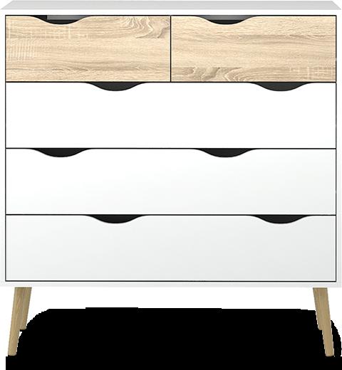 Oslo er en serie nette og fine oppbevaringsmøbler, med både kommoder og garderobeskap i sortimentet. Du får også nattbord og konsollbord i samme serie, så du kan skape en helhetlig stil på soverommet. Kommoder gir også smart oppbevaring på barnerom, og la