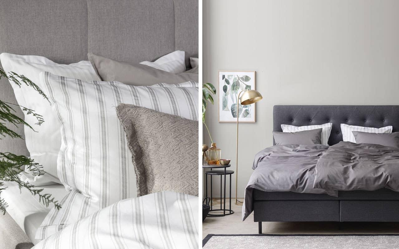 Vi elsker naturmaterialer og grønne planter i interiøret – og vi tar dem også med inn på soverommet! Nano sengesett henter inn naturtonene i en beige fargepalett.
