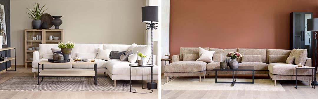 Samme sofa, men i ulike oppsett, farger og materialer – og med forskjellig farge på veggen – gir to unike uttrykk. Stockholm modulsofa lar deg sette sammen moduler selv, eller du kan velge fra en rekke faste oppsett.