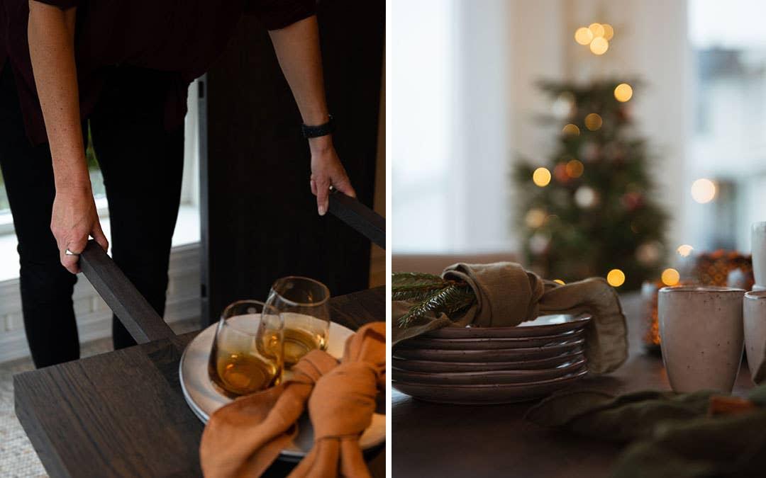 Det viktigste er at bordet har plass til alle gjestene – så kan dekoren gjerne hentes i skogen, som denne grankvisten som pynter opp servietten.