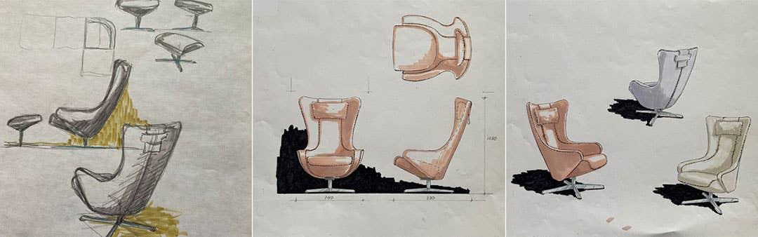 Her ser vi noen av de første skissene Taraldsen tegnet av Brunstad-stolen Bella.
