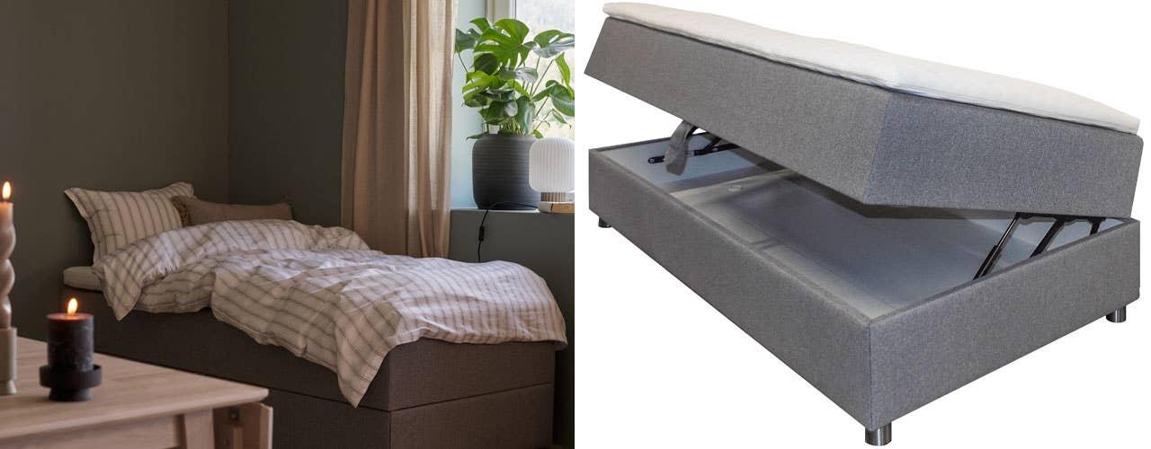 Vips, så var stuen blitt soverom! En seng fungerer fint som en dagseng eller sofa, og trylles om til en komfortabel soveplass om kvelden. Når spisebordet står midt i rommet, skaper det også en fin sone, og du får mer ut av plassen.