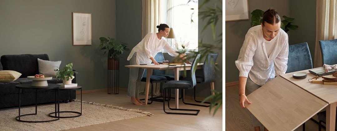 Et bord med klaff gir rom for gjester, eller du kan skape en god arbeidsplass om du jobber hjemmefra.