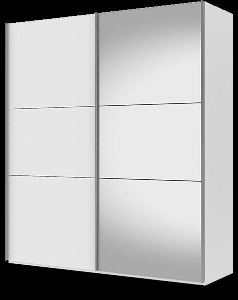 Et garderobeskap med skyvedører binder ikke opp unødvendig gulvplass til dørene, og velger du speilfronter får du rommet til å virke større.