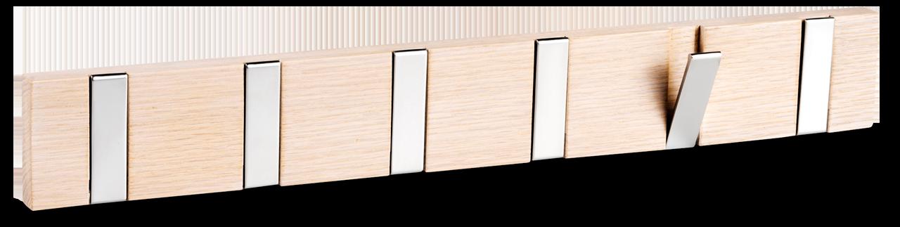 Knaggrekken Confetti tar minimalt med plass på veggen – og knaggene kan foldes inn når de ikke er i bruk. Perfekt for et lite soverom hvor hver centimeter teller!