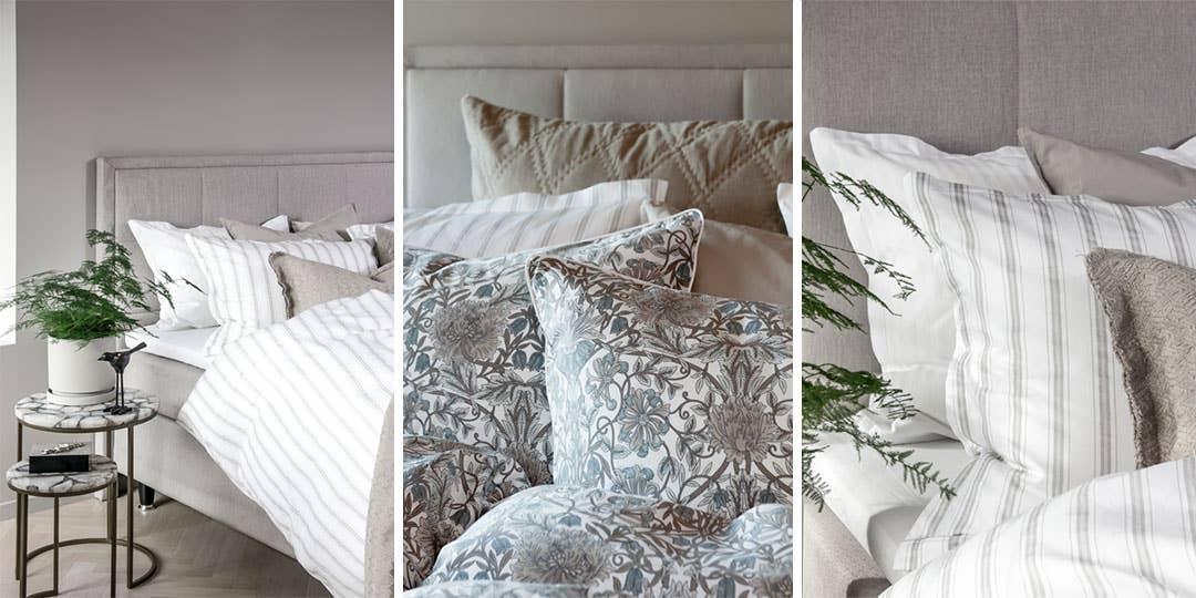 Sengetøyet fra Borås Cotton fås i en rekke duse og delikate farger, som Nano i beigestripete og blomstret. Perfekt når vi går mot lyse, varme sommernetter!