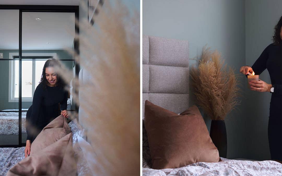 Sengen fra Svane kjøpte de etter å ha fått god hjelp på sin lokale Møbelringen-butikk. Den har en behagelig hodegavl i en farge som matcher parets stil. Pynteputene fra Hødnebø passer like godt på sengen, som i soafen i stuen.