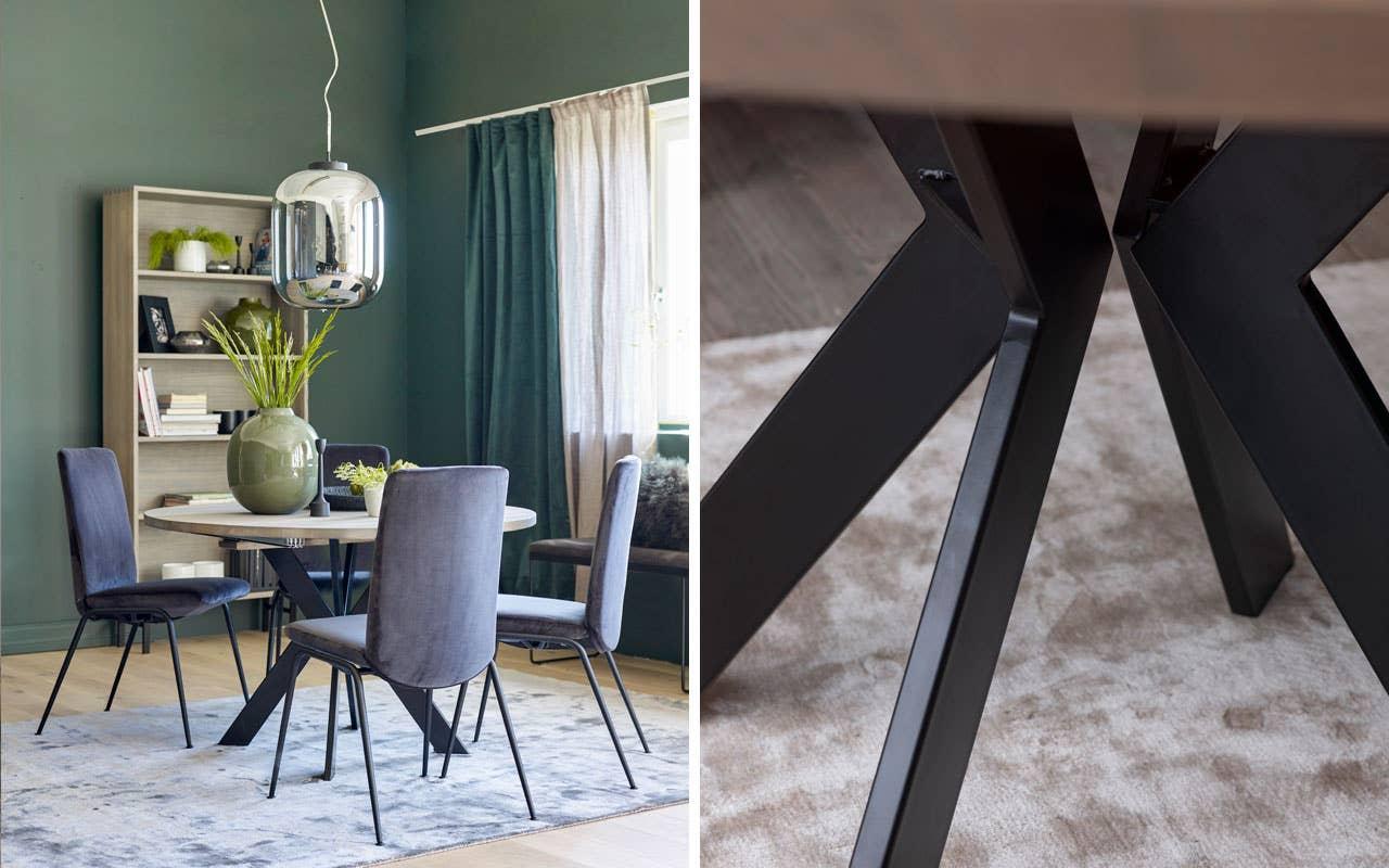 Det runde spisebordet fra Woodstory får hvile bena på et lekkert gulvteppe som skaper en definert sone rundt spiseplassen. Spisestolene Laurel fra Stressless sørger for at du kan bli sittende komfortabelt lenge.