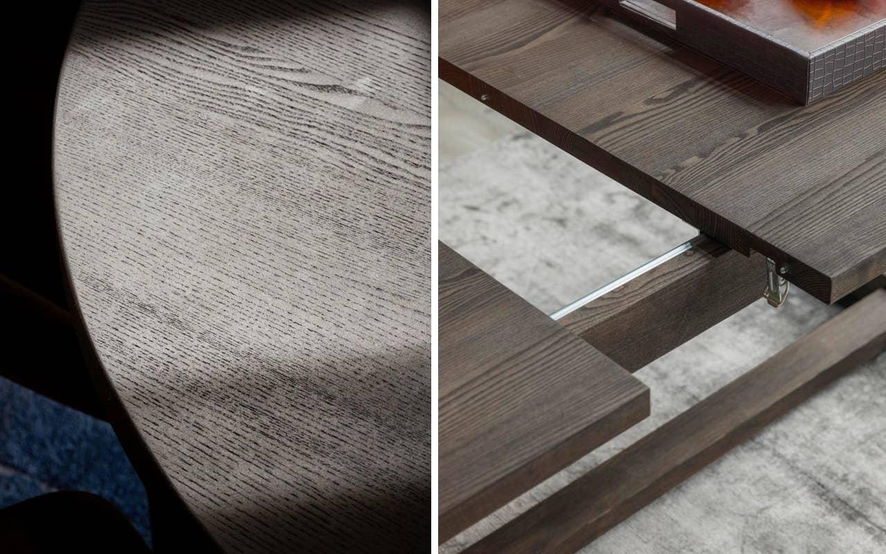 Woodstory rundt spisebord, modell D303, sort ask. WoodStory Urban spisebord 54US med integrert ileggsplate.