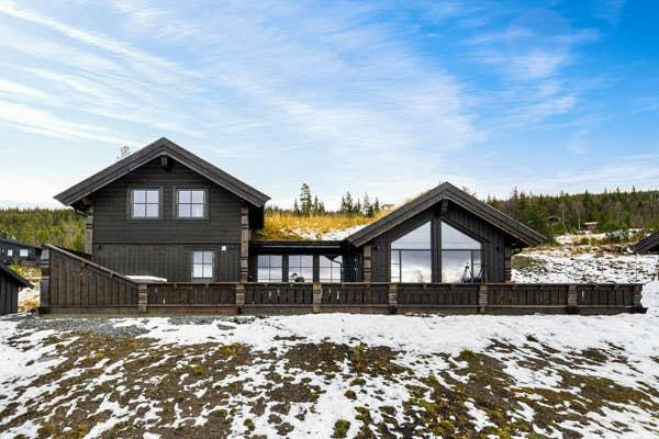 Tradisjonell hyttestil med gress på taket utgjør rammen for en moderne interiørstil.